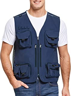 BALEAF Chaleco de caza de pesca con múltiples bolsillos para senderismo, fotografía, trabajo al aire libre, viajes, chaleco de periodista