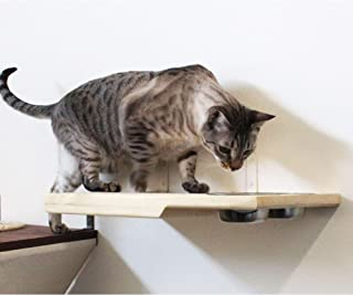 CatastrophiCreations Cat Dining Table - Handcrafted Wall-Mounted Feeder Shelf,Unfinished