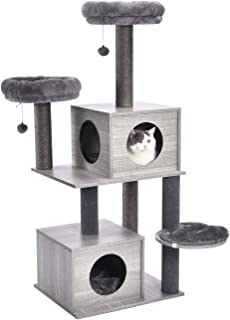 PAWZ Road Cat Tree Modern Cat Wood Furniture Featuring 2 Super Large Condos, Sturdy Scratching Posts, Dangling Balls and Soft Perches 55 Inches