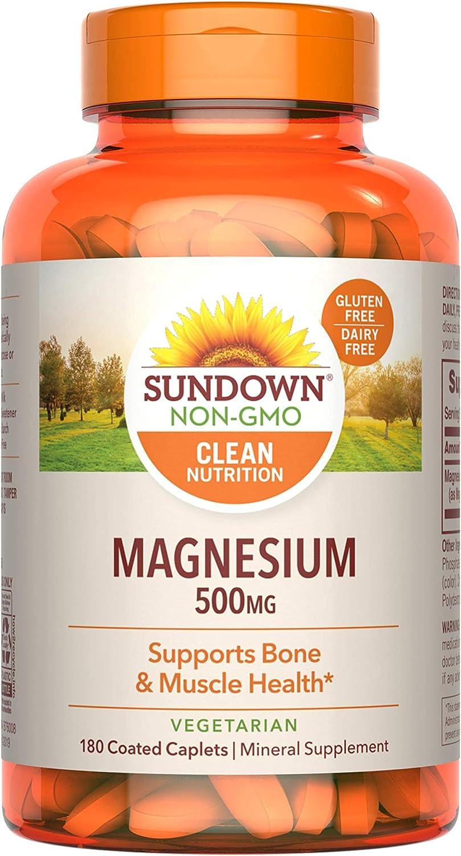 Sundown Magnesium Supplement supreme Gluten-Free Non-GMOˆ quality assurance Dairy-Fr