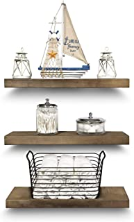 Sponsored Ad - Rustic Farmhouse 3 Tier Floating Wood Shelf - Real Hardwood Floating Wall Shelves (Set of 3), Hardware and ...