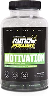 Ryno Power Motivation Capsules - Natural Boost for Mental and Physical Performance - Gluten Free / Banned Substance Free / All-Natural