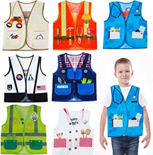 Dress Up Vest - 7 Pc - Pretend Play School Set - Career Costumes - Kids Role Play Costume - Occupation Costume (7 Pc Career Costumes)