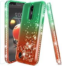 LG Aristo 2 Case,LG Tribute Dynasty Case,LG Aristo 3/LG Rebel 4/LG Phoenix 4/LG Tribute Empire/Aristo 2 Plus/Rebel 3 Case w/Tempered Glass Screen Protector,Glitter Diamond ShockproofCase,Mint/Red
