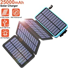 Tranmix Solar Charger 25000mAh Power Bank with 4 Solar Panels Waterproof Battery Pack Phone Charger with Flashlight for iPhone, Samsung and Tablets