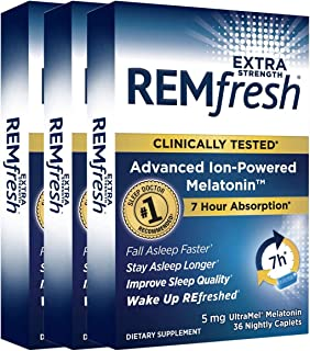 REMfresh Extra Strength 5mg Melatonin Sleep Aid Supplement (108 Caplets Total) | Sleep Supports Immune Function | #1 Docto...