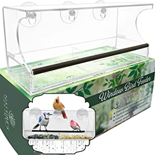 Nature's Envoy Window Bird Feeder - Strong Suction Cups for Outside - Clear Lucite Acrylic - Nonslip Slide Out Seed Tray w...