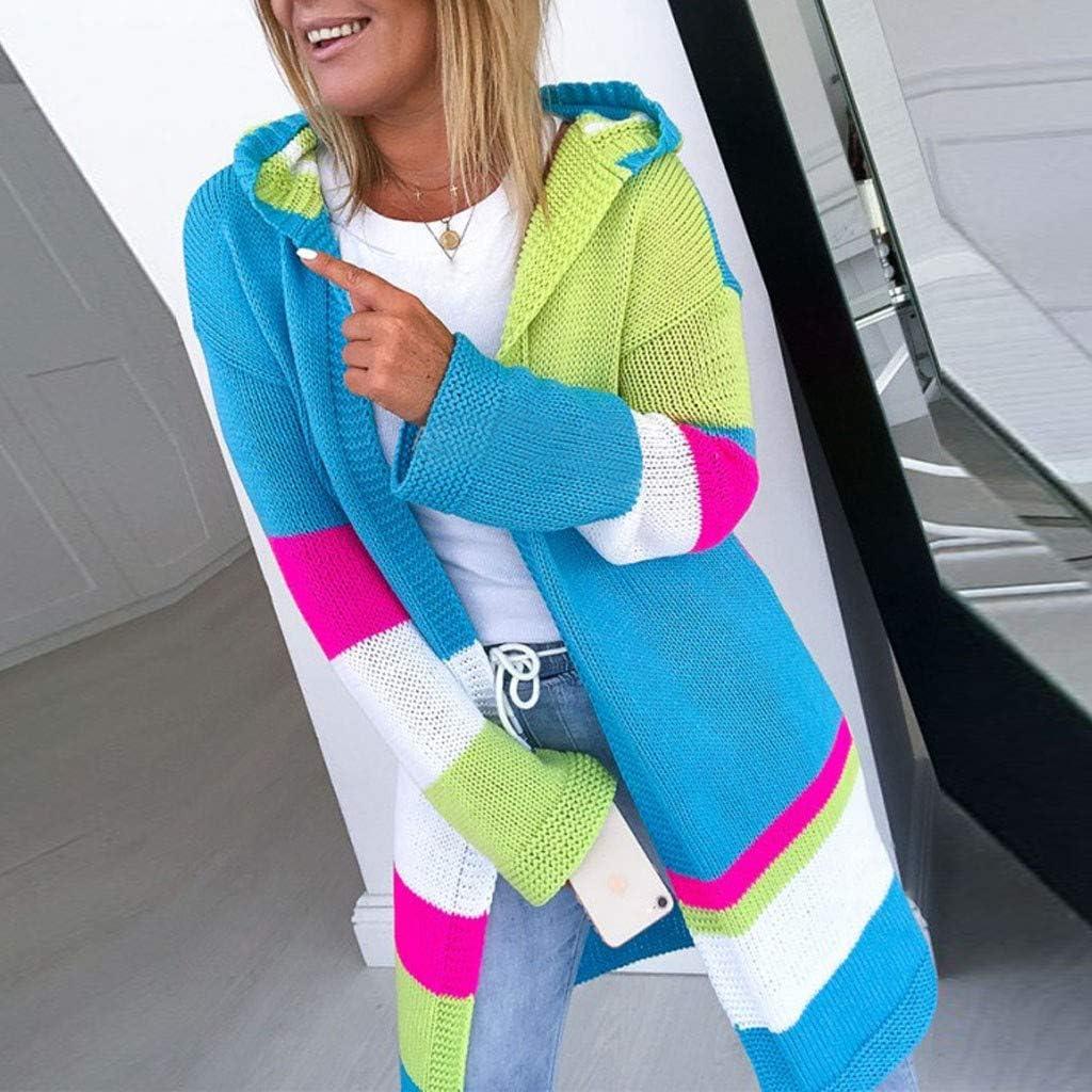 Kapian Damen Hoodie Mantel Langarm Open Front Cardigan Strickjacke Schnitt Strickmantel Langshirt mit Taschen Himmelblau