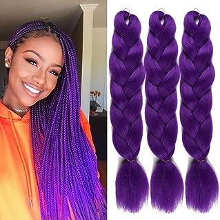 UHair Purple Kanekalon Braiding Hair Extensions Jumbo Braid Crochet Colorful Hair High Temperature Synthetic Fiber Hair Extension for Women(100G/pc, 3 pcs/lot)