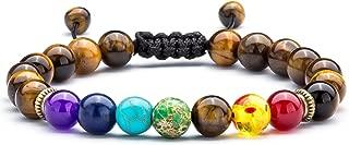 Men Women 8mm Lava Rock 7 Chakras Aromatherapy Essential Oil Diffuser Bracelet Braided Rope Natural Stone Yoga Beads Bracelet Bangle-21004