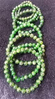 7 inch strand natural chrome diopside 6.5 mm round smooth beads for jewelry - 6.5mm chrome diopside smooth round, very stretch bracelet, 7.5 inch.