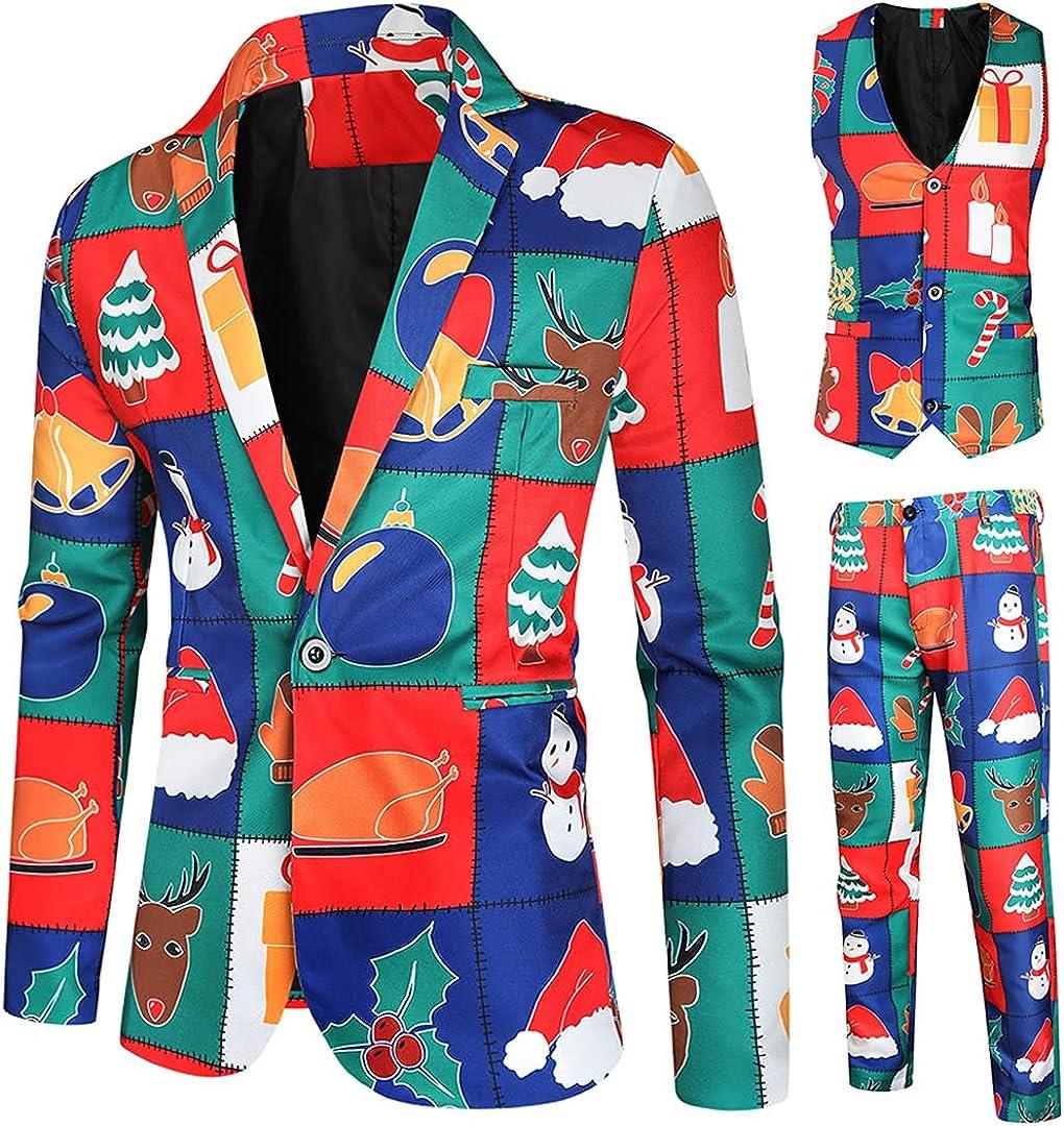 Christmas Long Sleeve Blazer Jacket Vest Pants 3 Pieces Set for Men One Breasted Slim Blazer Tuxedo