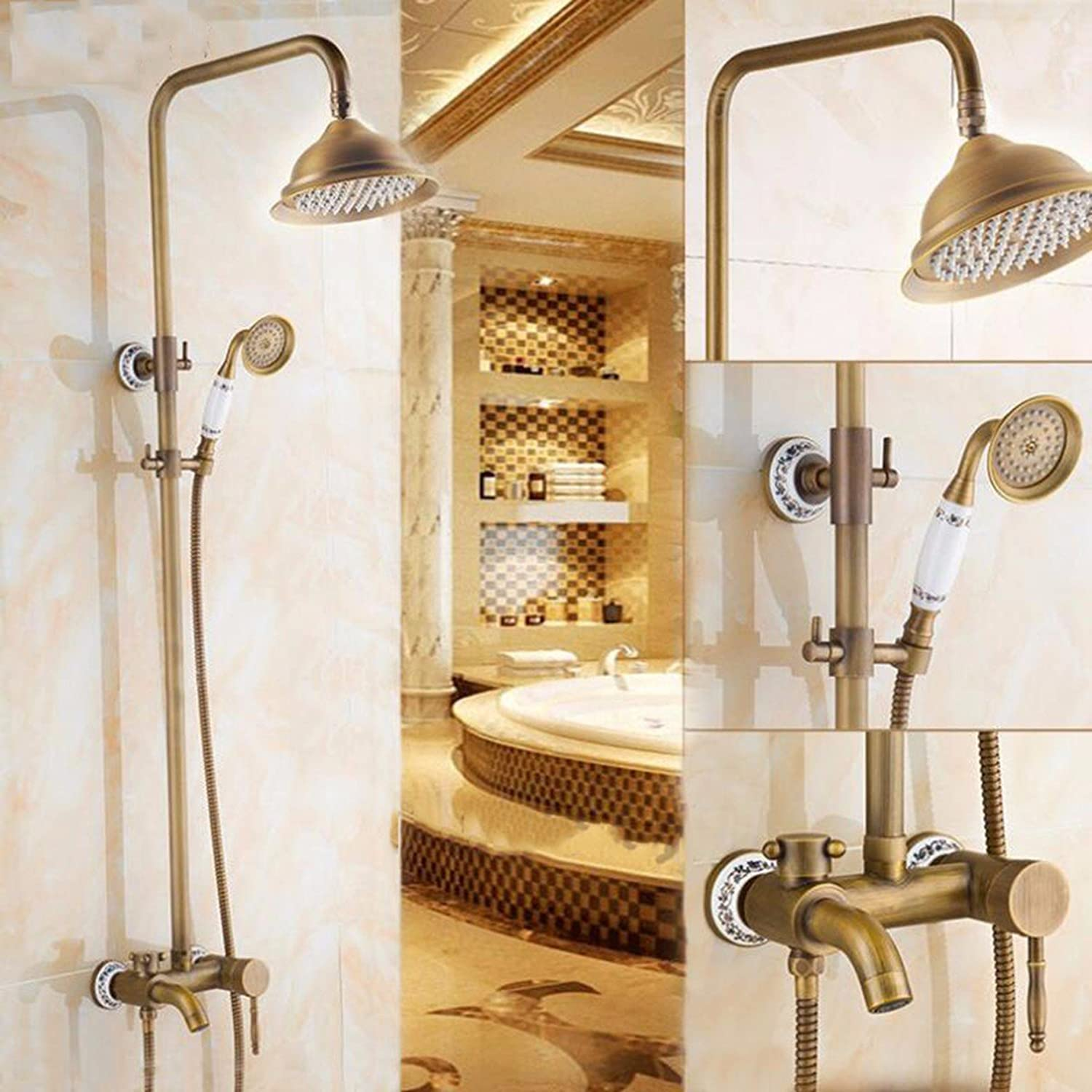 QPGGP-take a shower All copper retro shower shower set, European style pure copper antique shower with lifting cold and hot water bluee and white water faucet.