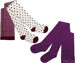 Weri Spezials, Leotardos para bebé y niño para niñas, pack doble, 2 pares, rayas y lunares & color liso
