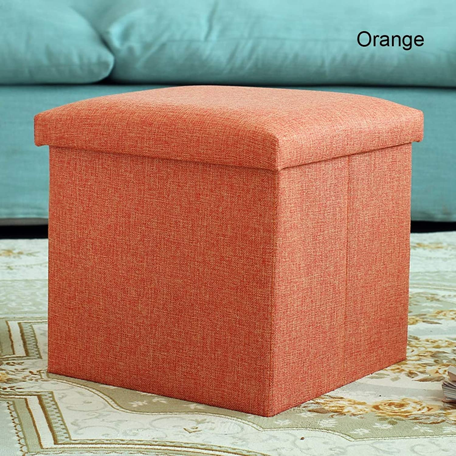 Storage Stool Multi-Function Folding Toy Storage Stool Home Storage Box Change shoes Bench,orange,Rectangular