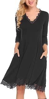 Women's Lace Trim 3/4 Sleeve Dress V Neck Pleated Pockets Swing T-shirt Dress