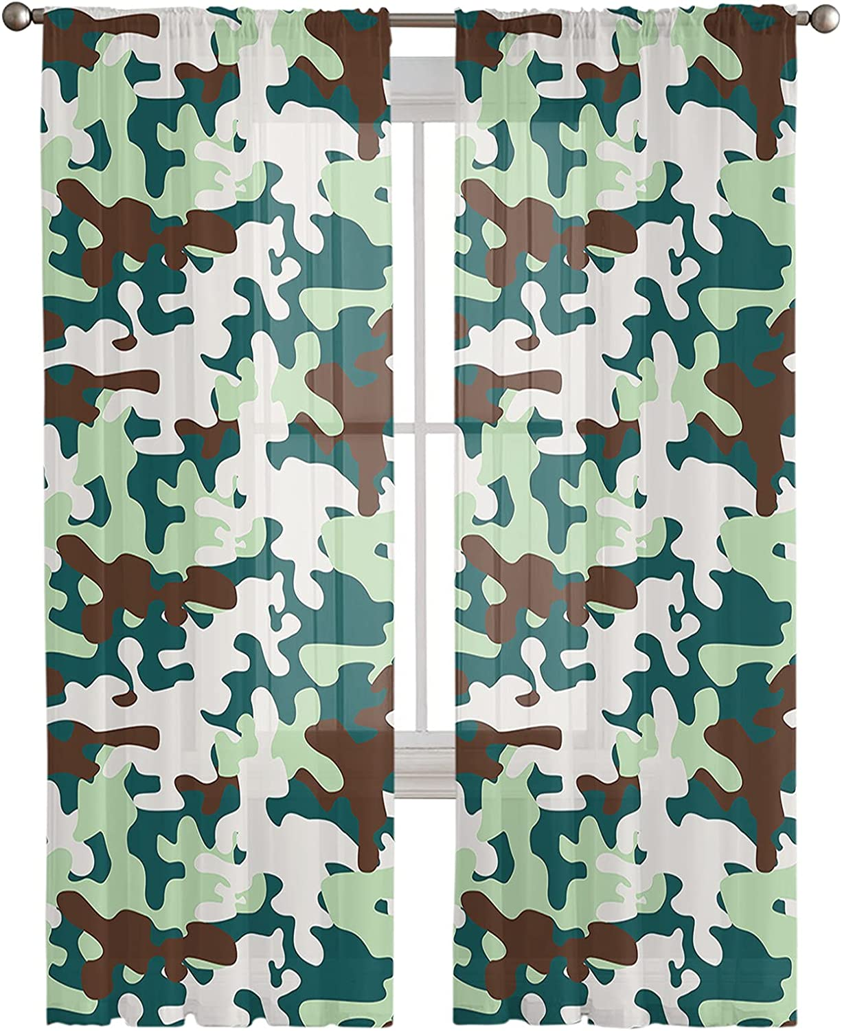Max 63% OFF Camouflage Sheer Curtains 2 Panels Light Privacy Curt Filtering Ranking TOP5