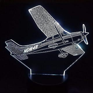 Qaq Starry Sky3D Led7 Cambio De Color Helicóptero Modelado Lámpara De Mesa Avión Aéreo De Noche Luminaria Luz De Noche De Avión De Aire Regalos