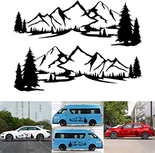 ViCiCA 1Pair/2Pcs Car Sticker Reflective Mountain Decal Tree Forest Vinyl Graphic Decals Kit for Camper RV Trailer Door Pa...