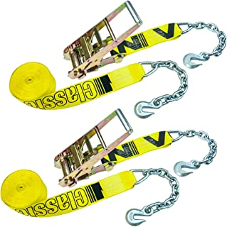 VULCAN Classic Ratchet Strap with Chain Anchors - 5,000 lbs. Safe Working Load (3'' x 30' - Pack of 2)