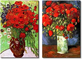 wall26 Famous Oil Painting Reproduction/Replica Set of 2 - Vase with Red Poppies & Daisies by Van Gogh Canvas Prints Wall Art/Ready to Hang Wrapped Canvas - 16