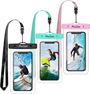 "(3 Pack) ProCase Universal Waterproof Pouch Cellphone Dry Bag Underwater Case for iPhone 11 Pro Max/Xs Max/XR/X 8 7 6S Plus, Galaxy Note10+ S10 Plus S9 S8+, Pixel 4 3 2 XL up to 6.8"" -Teal/Pink/Black"