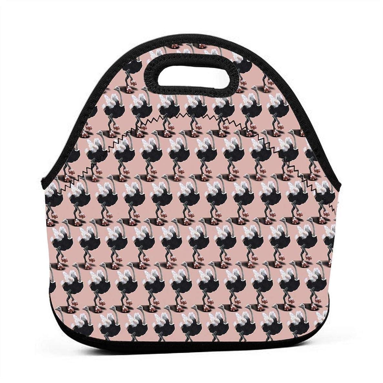 Ostrich Skating Lunch Bag Portable Handbag Bento Pouch Lunchbox Baby Bag Multi-purpose Zipper Satchel for Student Worker Travel Storage Bag