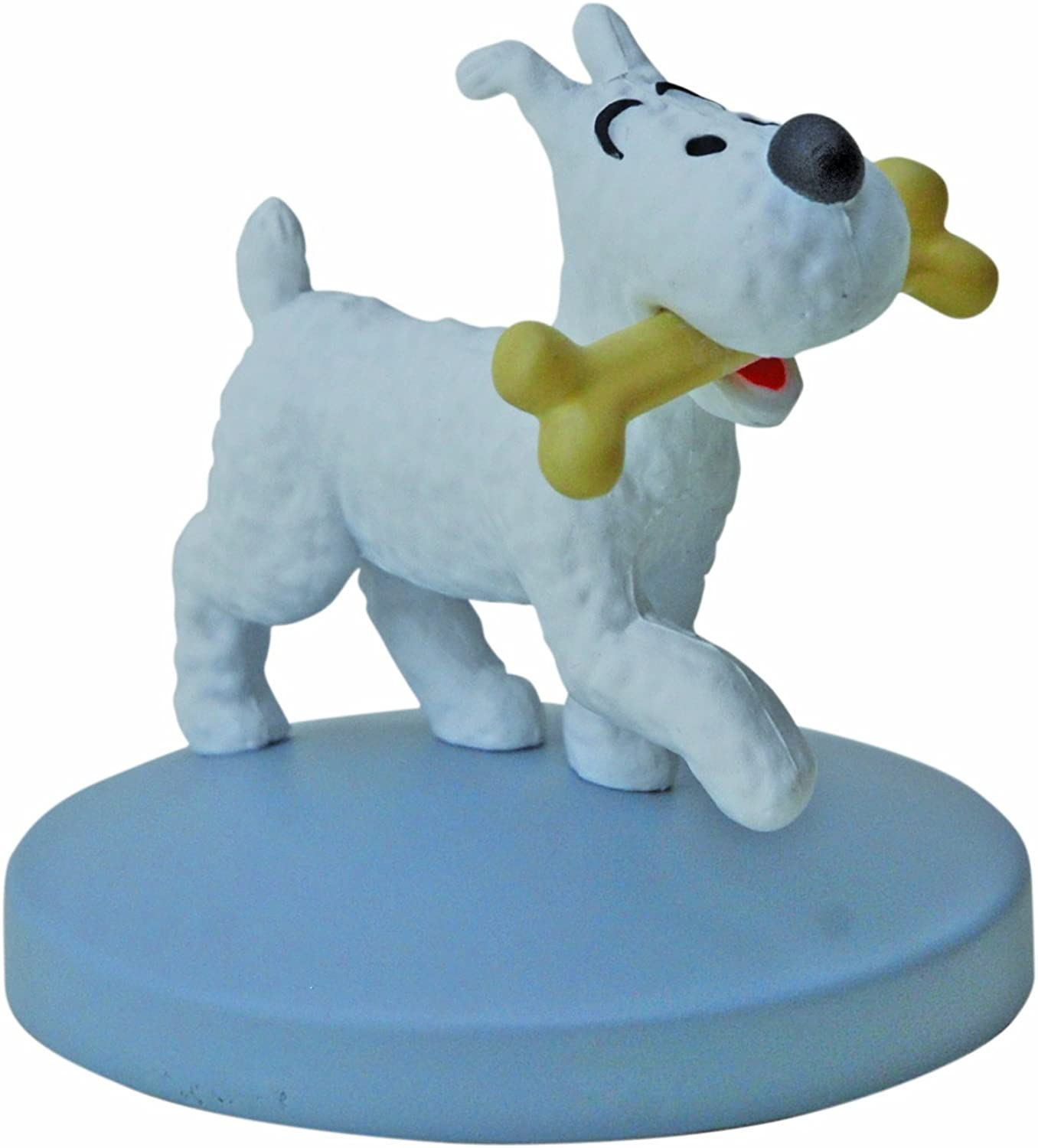5 CM SNOWY WITH HIS BONE FIGURINE FROM THE ADVENTURES OF TINTIN
