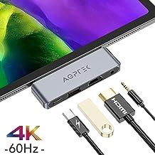 AGPTEK 4 EN 1 Hub USB C para iPad Pro 2018, 2020, Adaptador USB C a HDMI 4K, Auriculares de 3.5 mm, Carga PD, Compatible con Macbook, DELL XPS, Samsung S8/S9/Note8 y Más Dispositivos de Tipo C, Gris
