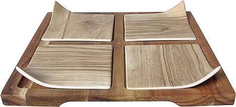 طبق تقديم مسطح مع 4 اطباق صغيرة - 24.5 × 24.5 × 4 سم