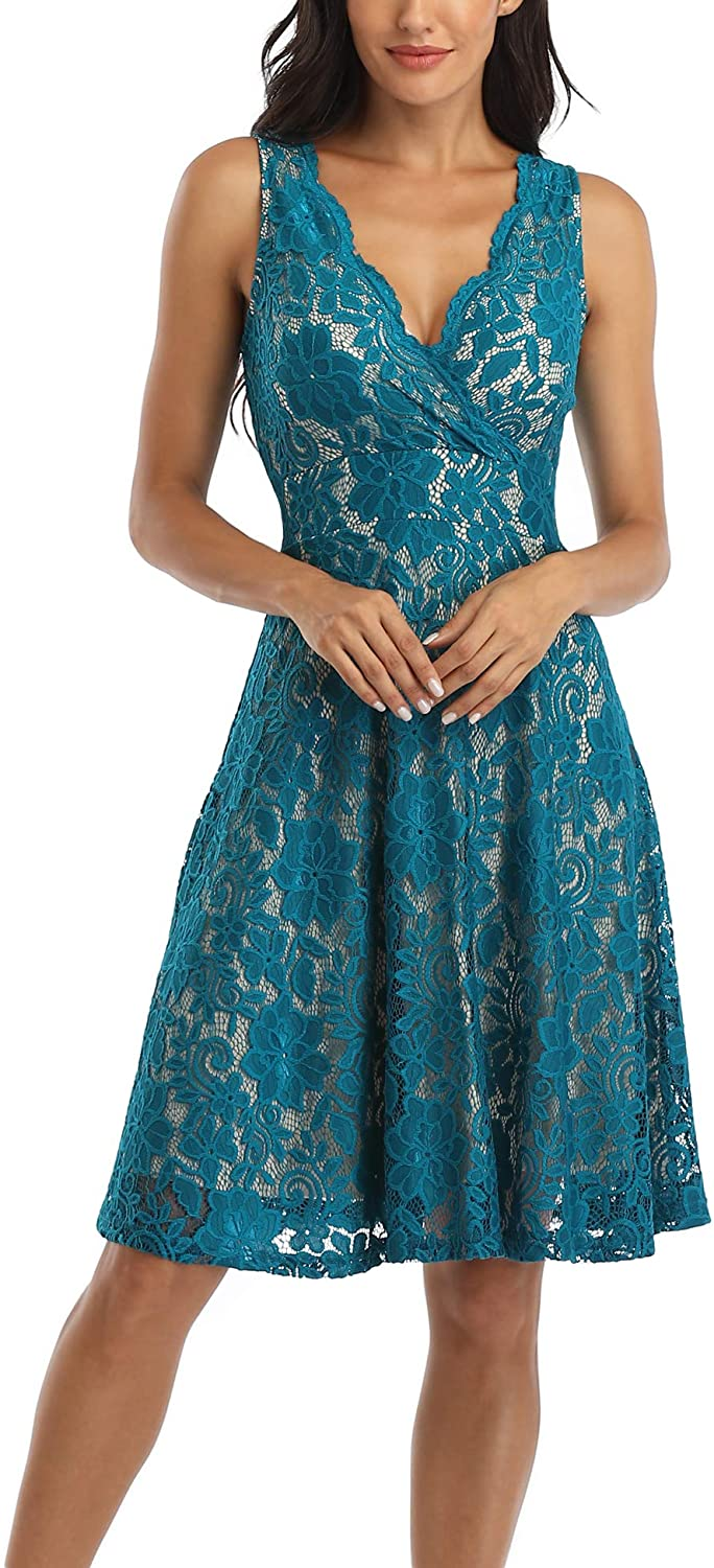 MISS MOLY Women's Floral Lace Overlay Fit and Flare Dress Sexy V-Neck Knee Length Elegant Party Wedding Dress