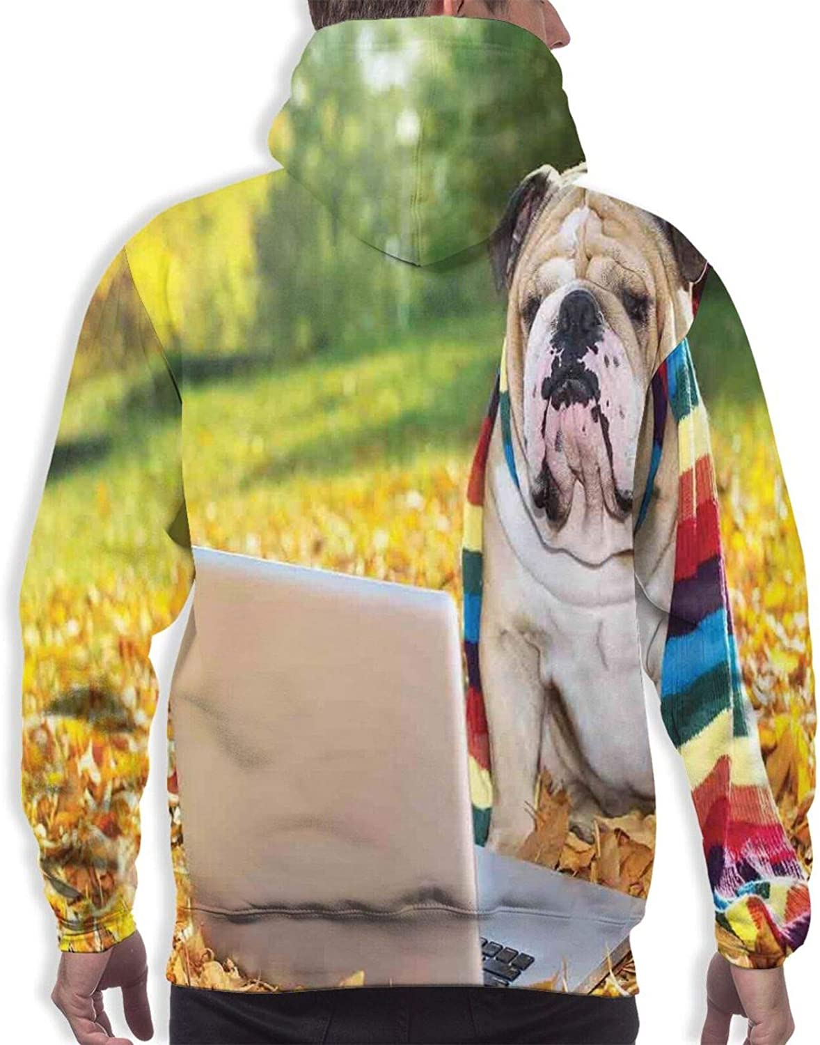 Men's Hoodies Sweatshirts,Dog in The Park with A Laptop and Rainbow Colored Scarf Funny Photography
