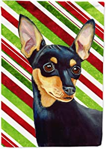 Caroline's Treasures LH9245GF Min Pin Candy Cane Holiday Christmas Flag Garden Size, Small, Multicolor