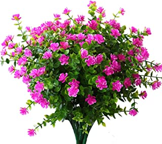 YXYQR 4 Pack Artificial Flowers, UV Resistant Fake Plant Outdoor Indoor Hanging Planter Faux Greenery Shrubs Outside Home Garden Window Kitchen Office Wedding Living Room Decoration (Fushia)