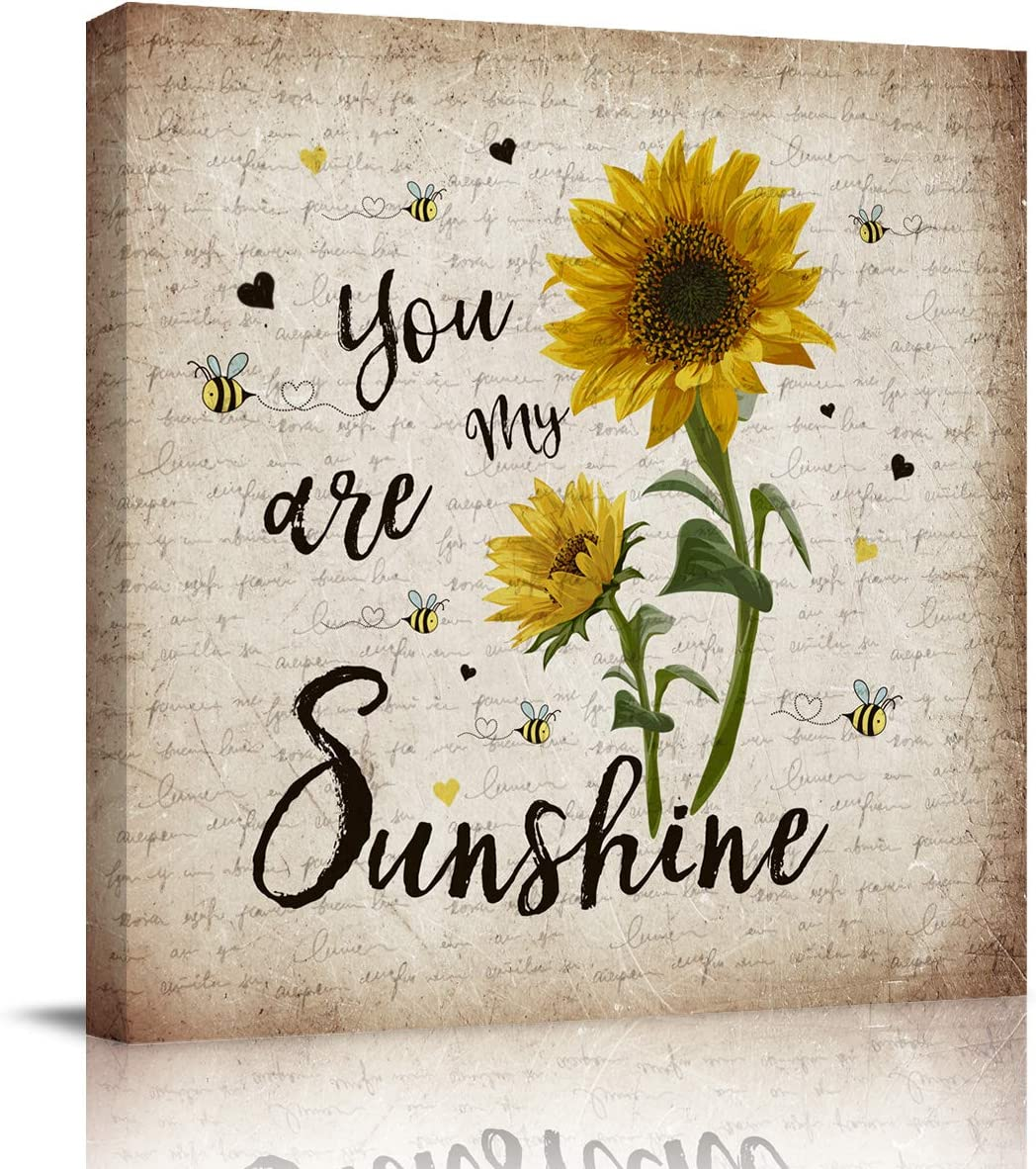 Sailground Oil Painting Artwork Print on Wrapped Canvas for Walls Sunflower Bee You are My Sunshine Vintage Letter Square Artwork Framed for Home Decoration Ready to Hang 12x12 inch
