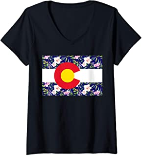Womens Colorado Floral Pattern Flag Colorful Colorado Gifts MCMA V-Neck T-Shirt