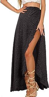GIKING Women Ruffle Pants Full Length Split High Waist Retro Maxi Long Skirt
