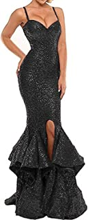 2019 Sexy Mermaid Evening Party Dress Spaghetti Strap Split Side Long Ball Gown DPM31