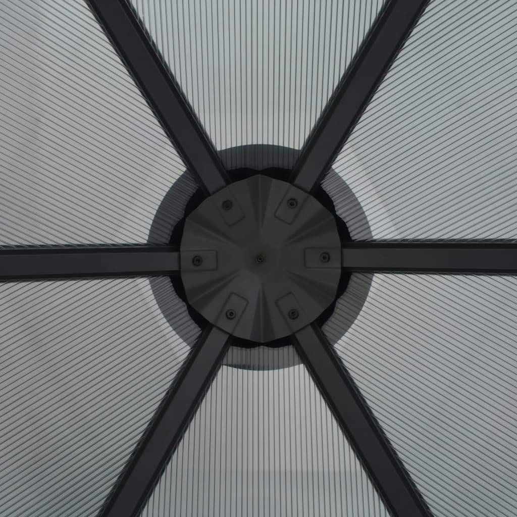 Festnight Lujoso Cenador de Jardín Aluminio con Techo de Tablero PC de 6 mm de Grosor Gris 310 x 237 x 265 cm: Amazon.es: Hogar
