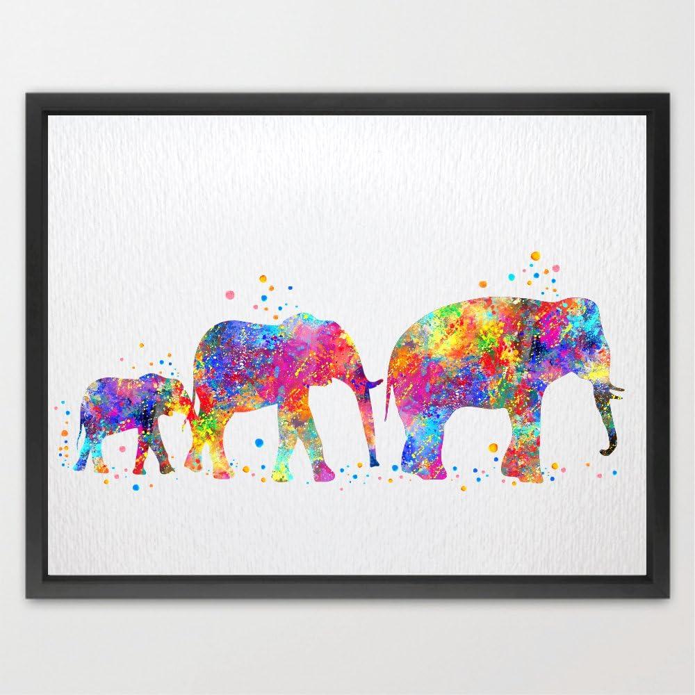 Dignovel Studios 24X36 Unframed Elephant Rapid rise of Three Safari safety Family