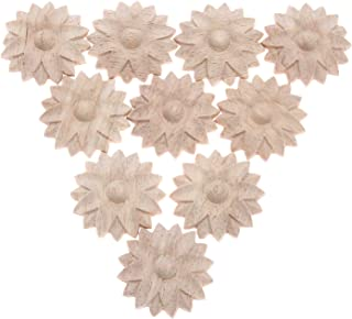 MUXSAM 10Pcs Unpainted Floral Wood Carved Decal Corner Appliques Frame Wall Furniture Woodcarving Decorative Wooden Crafts Home Decor 4cm