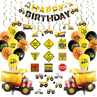 Construction Party Supplies, Dump Truck Birthday Party Decorations for Boys, with Construction Sign, Hanging Swirl, Happy ...