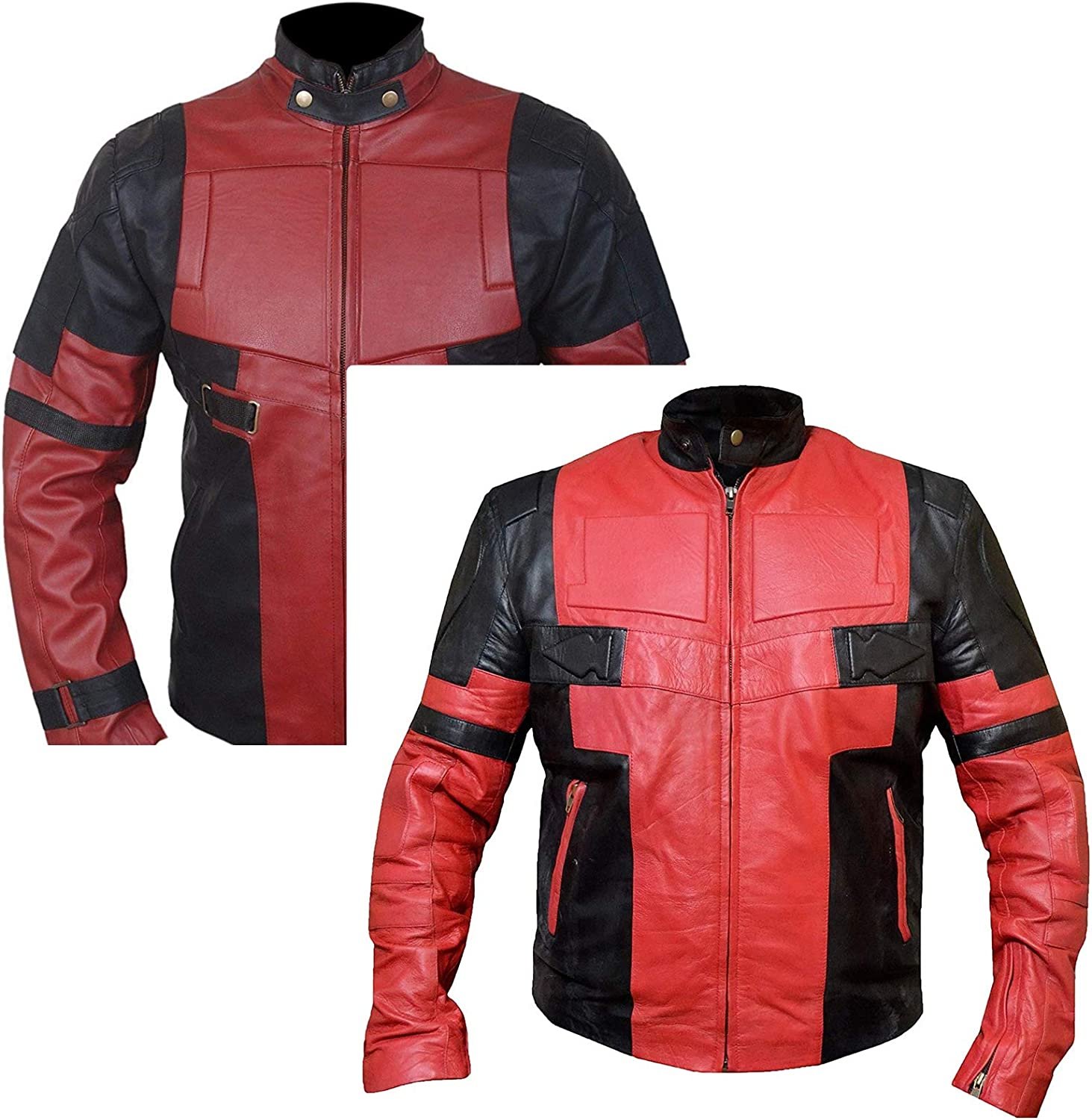 Western Fashions Men, Women Ryan Reynolds Deadpool Leather Red & Black Jacket