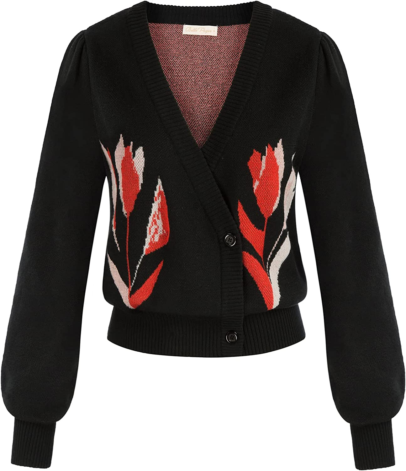 Belle Poque Women's Wrap V Neck Long Sleeve Floral Cropped Knit Cardigan Sweater