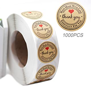1000pcs Handmade with Love Sticker, YOGET 1'' Round Thank You Stickers Roll Kraft Paper Strong Adhesive Stickers