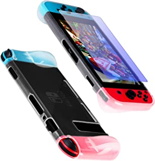 Protective Case Cover for Nintendo Switch, Comfortable Soft TPU Grip Case and Ergonomic Anti-Scratch Shock-Absorption Cover for Nintendo Switch with 1 TPU Protective Film(White)