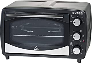 ELTAC RG 13 - Horno pequeño (16 L, calor superior e inferior, pincho giratorio, 60 minutos) Temporizador, temperatura regulable, doble acristalamiento, superficie antiadherente, 1200 W, color negro