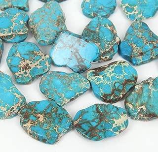 20pcs Natural Turquoise Blue Sea Sediment Regalite Jasper Smooth Free Form Gemstone Nugget Loose Stone Beads ~ 15-45mm GX7