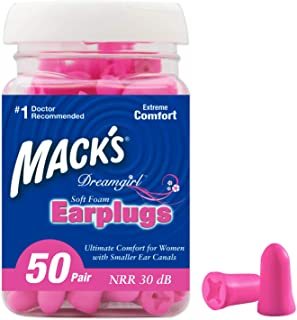 Mack's Dreamgirl Soft Foam Earplugs, 50 Pair, Pink - Small Ear Plugs for Sleeping, Snoring, Studying, Loud Events, Traveling and Concerts