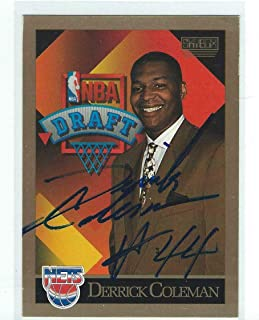 Derrick Coleman Signed 1990/91 SkyBox NBA Draft Card #362 - Football Slabbed Autographed Rookie Cards